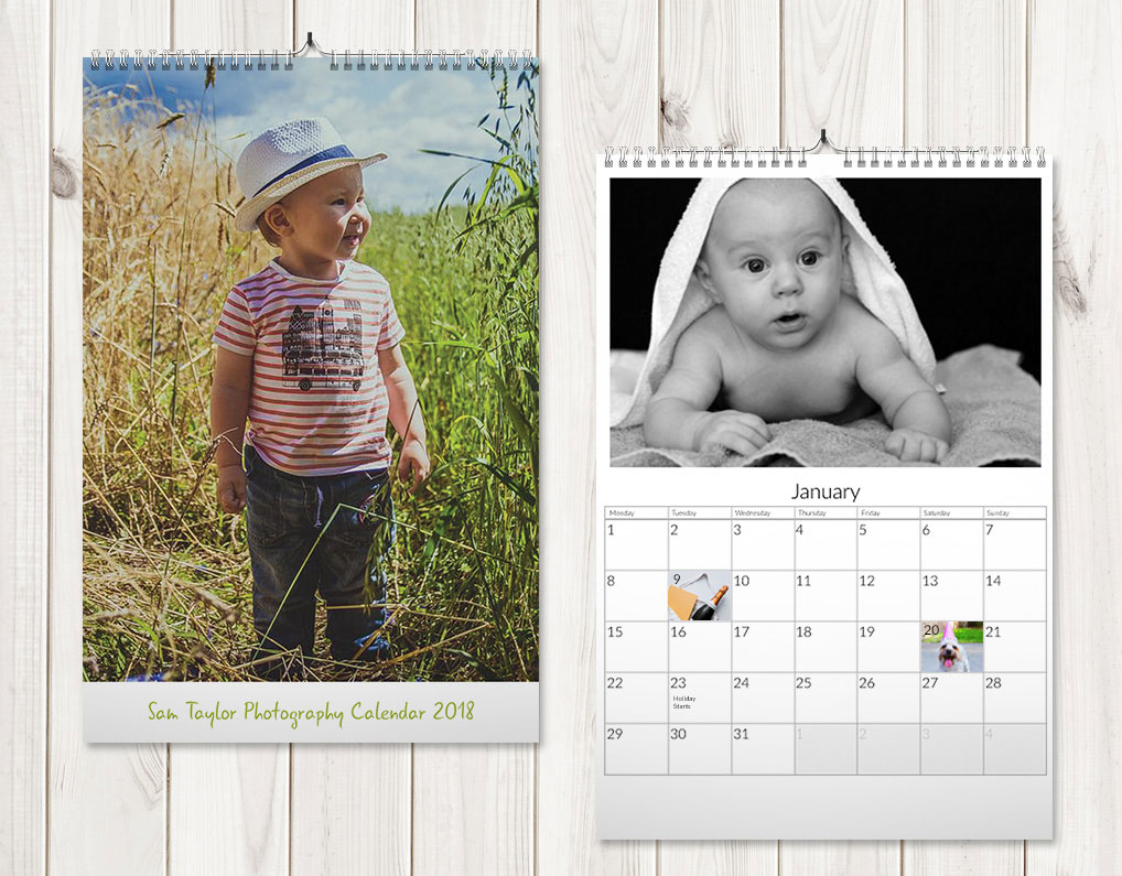 Tall and slim photo wall calendars