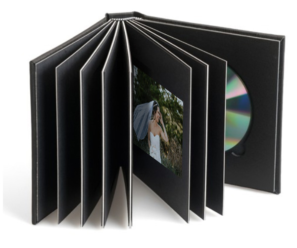 Wedding album with cd and dvd storage