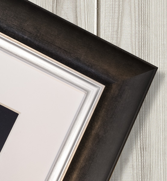Sliver and black contemporary frame